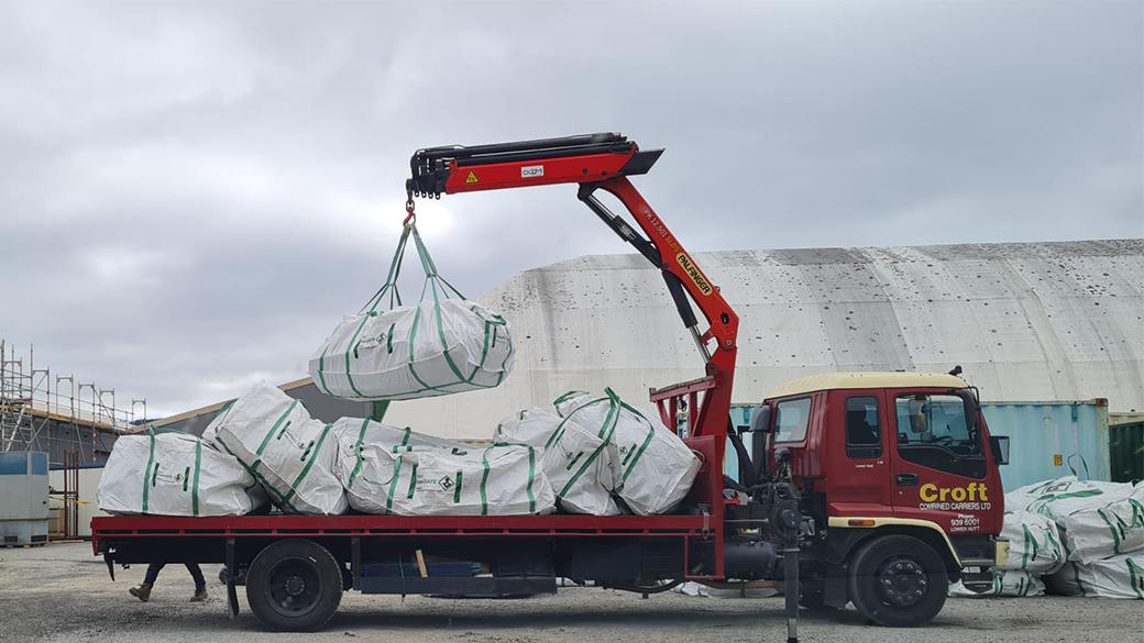 bulk bags being used for asbestos removal